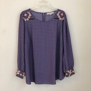 LOFT • purple print floral cuffed top blouse
